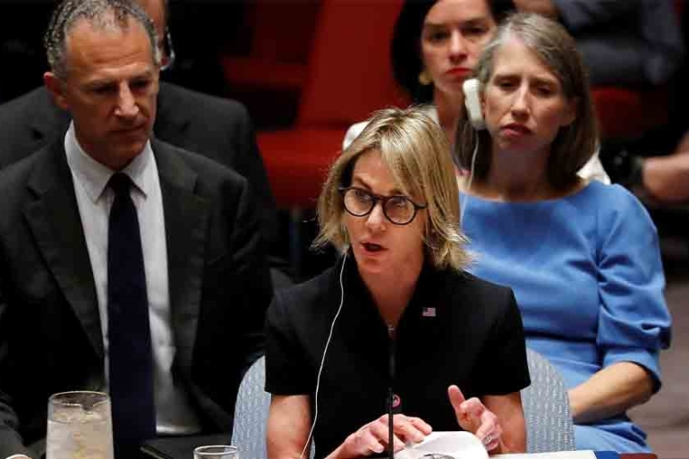 The US ambassador the UN Kelly Craft has called the North's missile tests 'deeply counterproductive' [File: Mike Segar/Reuters]