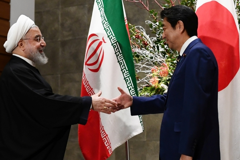 Prior to Rouhani, the last Iranian president to visit Japan was Mohammad Khatami in 2000 [Charly Triballeau/Pool via Reuters]