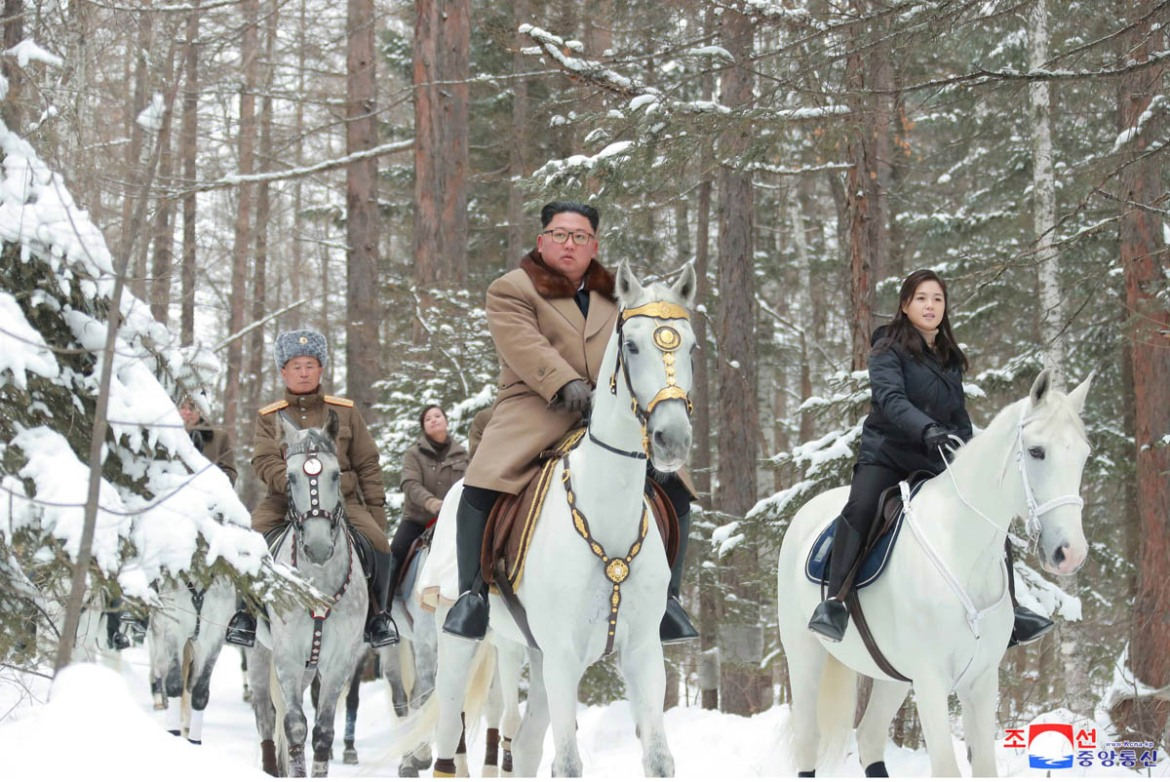 North Korean leader Kim Jong Un rides a horse as he visits the battle sites in areas of Mt Paektu, Ryanggang, North Korea. [KCNA/Reuters]