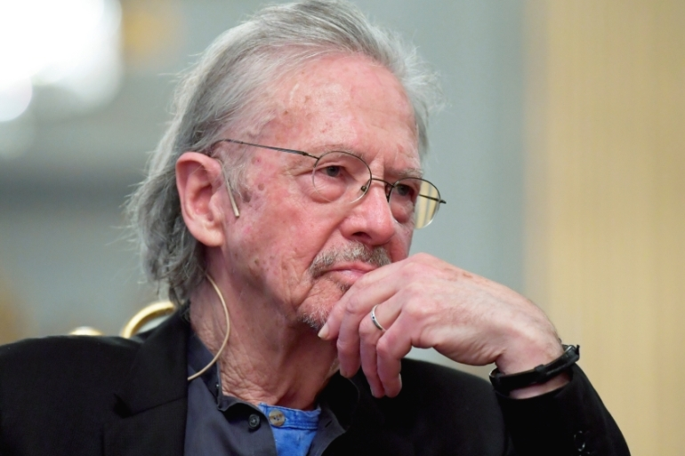 Peter Handke is scheduled to receive the Nobel Prize for literature at a ceremony in Stockholm on Tuesday [Anders Wiklund/TT News Agency/Reuters]