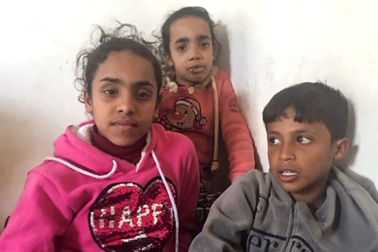 Noor, Reem, and Dia al-Sawarka lost their parents and three siblings in an Israeli attack on their home in Gaza [Ali Younes/Al Jazeera]
