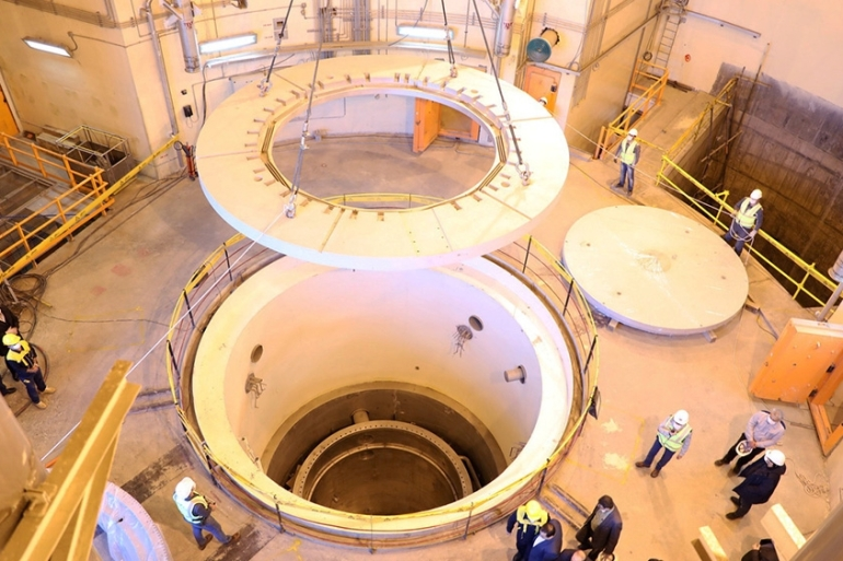 The waivers' renewal for 60 days will allow nonproliferation work to continue at the Arak heavy-water research reactor, the Bushehr nuclear power plant, the Tehran Research Reactor and other nuclear cooperation initiatives [File: WANA via Reuters]