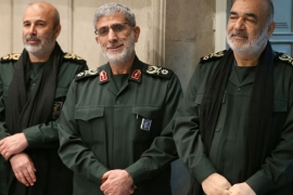 Brigadier General Esmail Qaani, centre, attending the memorial for Qassem Soleimani, former commander of IRGC's Quds Force [File: Anadolu]