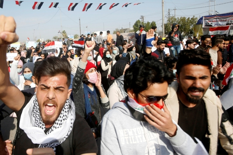University students attend a protest against the US and Iran interventions, in Basra, Iraq on January 8, 2020  [Reuters/Essam al-Sudani]