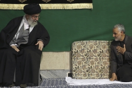 General Qassem Soleimani greets Supreme Leader Ayatollah Ali Khamenei during a religious ceremony in a mosque at his residence in Tehran, Iran on March 27, 2015 [File: AP]