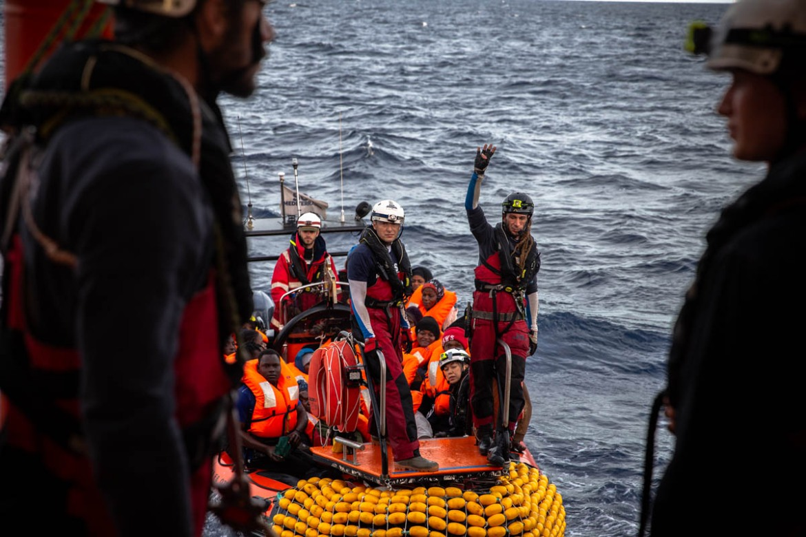 "More than 110,000 migrants and refugees arrived in Europe by sea last year but 1,283 of those who left North Africa died in the Mediterranean after managing to flee Libya. ""It seems there's complete disregard for human life and people dying on the Mediterranean,"" said Nicholas Romaniuk, a search and rescue coordinator on board the rescue vessel Ocean Viking. [Faras Ghani/Al Jazeera]"