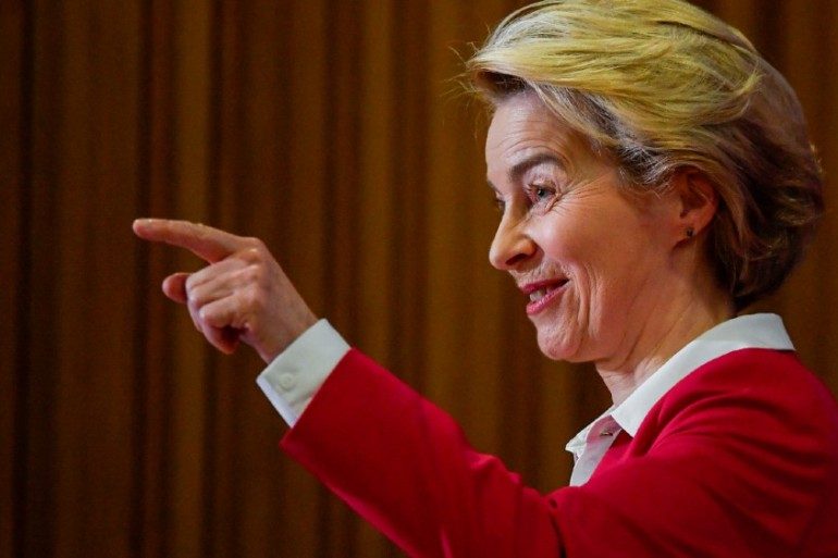 Ursula von der Leyen said the UK and EU would still be 'the best of friends' after Brexit [Toby Melville/Reuters]