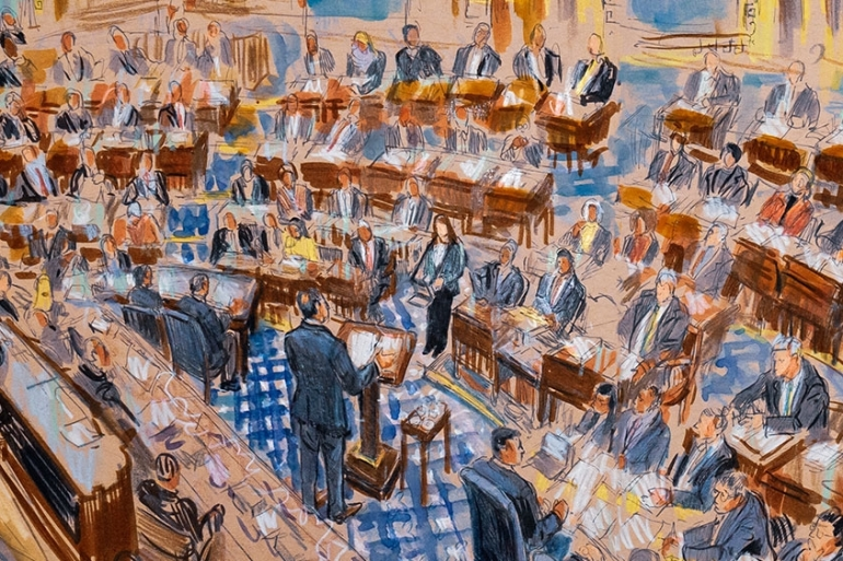 This artist sketch depicts White House counsel Pat Cipollone speaking in the Senate chamber during the impeachment trial against President Donald Trump [File: Dana Verkouteren/The Associated Press]