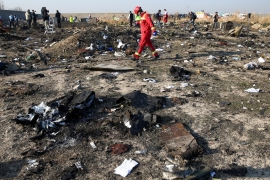 The Ukraine International Airlines flight came down less than three minutes after taking off, killing everyone on board [Nazanin Tabatabaee/WANA via Reuters]