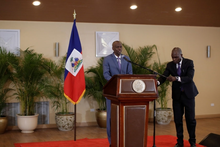 Haiti's President Jovenel Moise addresses the media in Port-au-Prince, Haiti [Andres Martinez Casares/Reuters]