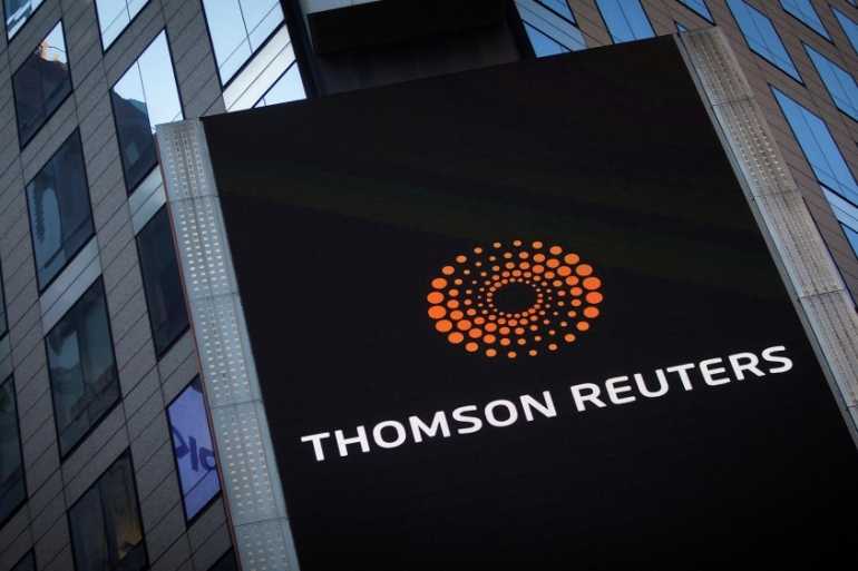 The Thomson Reuters logo is seen on the company building in Times Square in New York City in the United States in 2013 [Carlo Allegri/Reuters]