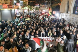 Palestinians in the occupied West Bank city of Nablus protest against Trump's proposal [Jaafar Ashtiyeh/AFP]