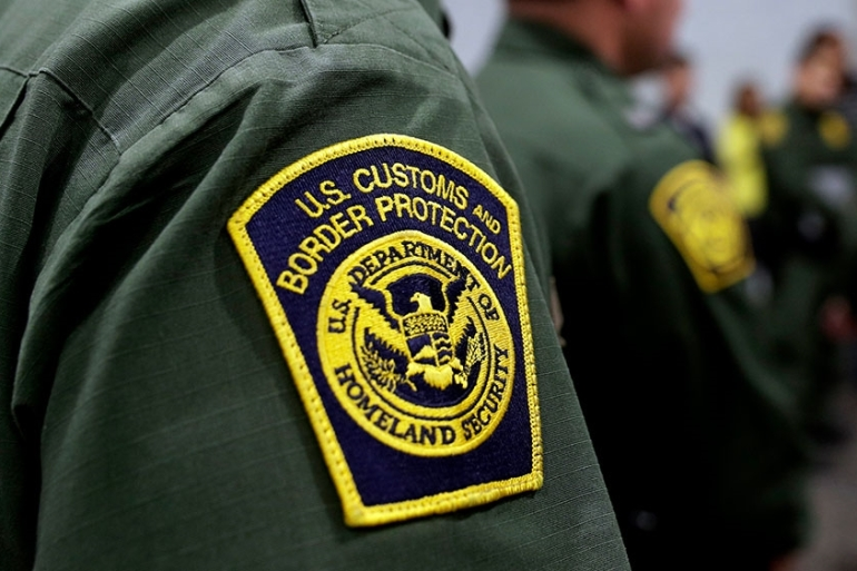 Border Patrol agents hold a news conference prior to a media tour of a new US Customs and Border Protection temporary facility near the Donna International Bridge [File: Eric Gay/AP Photo]