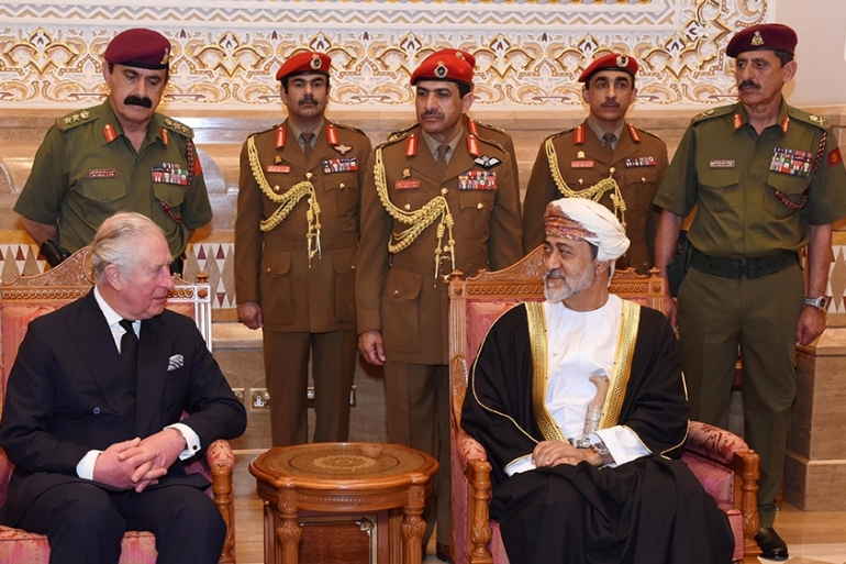 Oman's newly sworn-in Sultan Haitham bin Tariq Al Said receives condolences from Prince Charles [Oman News Agency/Handout via Reuters]