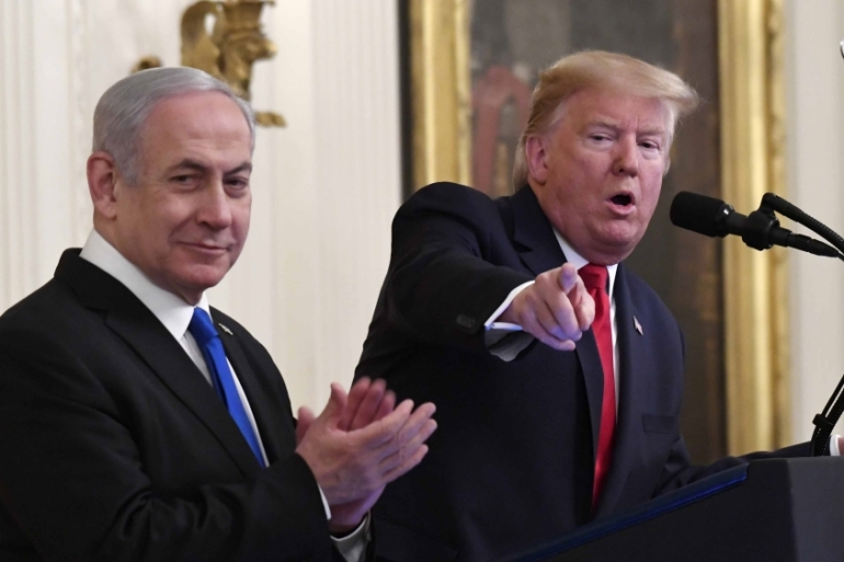 US President Donald Trump speaks during an event with Israeli Prime Minister Benjamin Netanyahu in the East Room of the White House in Washington on January 28, 2020 [AP/Susan Walsh]