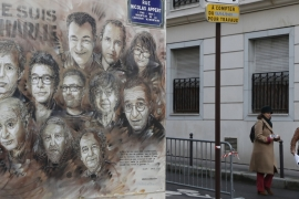 The artwork depicting members of satirical magazine Charlie Hebdo [File: Francois Guillot/AFP]