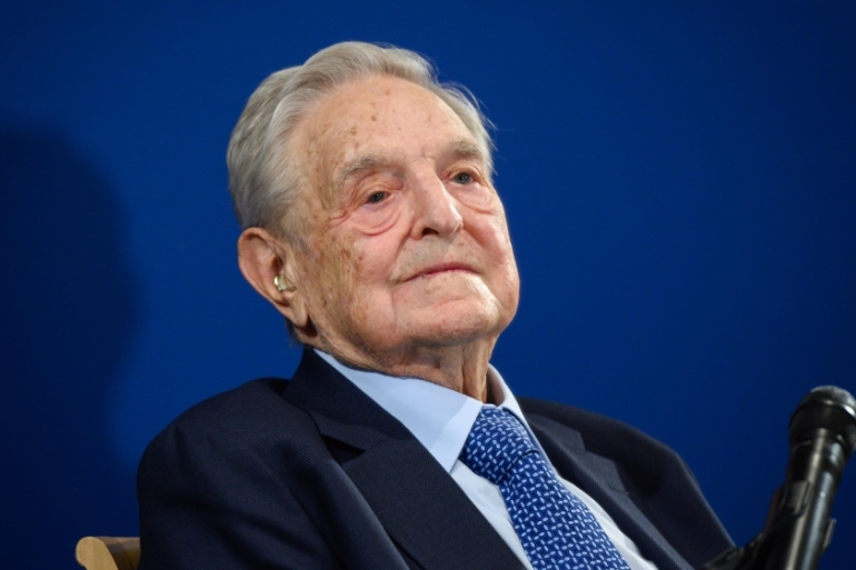 Hungarian-born US investor and philanthropist George Soros looks on after having delivered a speech on the sidelines of the World Economic Forum annual meeting, on January 23, 2020, in Davos, Switzerland [Fabrice Coffrini/AFP]
