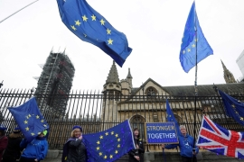 Anti-Brexit protesters holding European Union and Union Jack flags protest outside the Houses of Parliament in London, on January 30, 2020 [Reuters/Toby Melville]