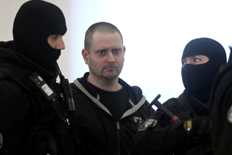 Miroslav Marcek, pictured here during a previous hearing, has admitted killing Jan Kuciak and Martina Kusnirova [Radovan Stoklasa/Reuters]