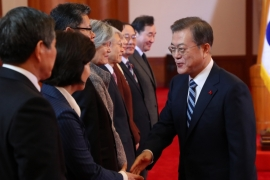 Rising tensions and international sanctions have blocked many of Moon's proposals for inter-Korean projects [File: Yonhap via EPA]
