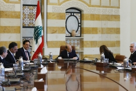Lebanon's President Michel Aoun heads the first meeting of the new cabinet at the presidential palace in Baabda [Mohamed Azakir/Reuters]