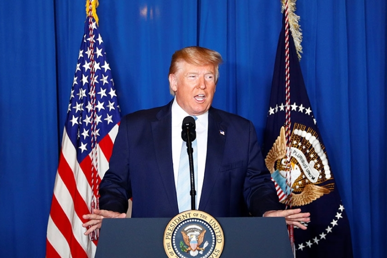 Trump delivers remarks following the killing of Iranian General Qassem Soleimani by US military in Baghdad, Iraq [Tom Brenner/Reuters]