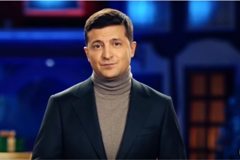 In his 13-minute New Year's address, Ukrainian President Volodymyr Zelenskyy called for national unity [Youtube/screengrab]