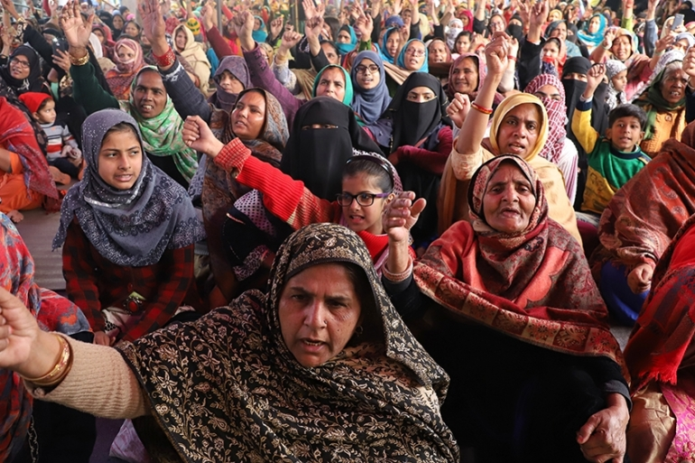 Women protesting against the Citizenship Amendment Act have occupied a stretch of the main road near Shaheen Bagh [Nasir Kachroo/Al Jazeera]