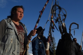 Tatanka Itancan Lone Eagle and others mark the anniversary of the Fort Laramie treaty between the Lakota of the Great Sioux Nation and the US government [FILE: Stephanie Keith/Reuters]