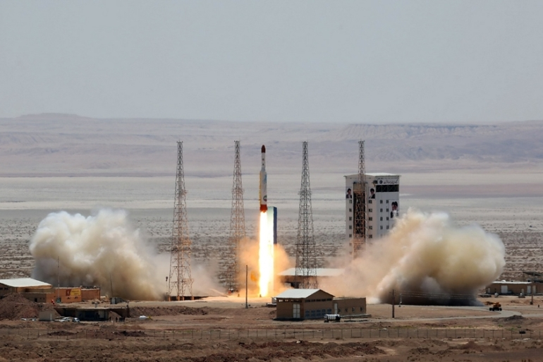 A handout picture from 2017 showing Simorgh (Phoenix) satellite rocket at its launch site at an undisclosed location in Iran [File: Iranian Defence Ministry/AFP]