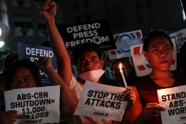 Protests in support of ABS-CBN took place after President Rodrigo Duterte filed a court case aiming to close down the Philippines biggest television network [Eloisa Lopez/Reuters]