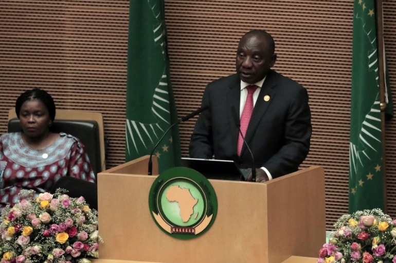 SA's President Cyril Ramaphosa addresses the Assembly of the Heads of State and the Government of the AU in Addis Ababa, Ethiopia, on February 9, 2020 [Tiksa Negeri/Reuters]