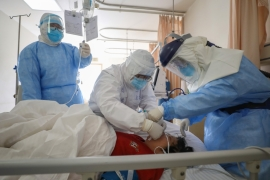 A patient gets treatment at a hospital in Wuhan in the early days of the coronavirus outbreak [File: Stringer/EPA]