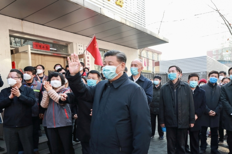 Chinese President Xi Jinping inspects the novel coronavirus prevention and control work at Anhuali Community in Beijing, China, February 10, 2020. Xinhua via REUTERS  [Reuters]