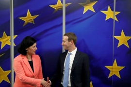 Facebook Chairman and CEO Mark Zuckerberg meets European Commissioner for Values and Transparency Vera Jourova at the EU Commission headquarters in Brussels, Belgium [File: Yves Herman/Reuters]