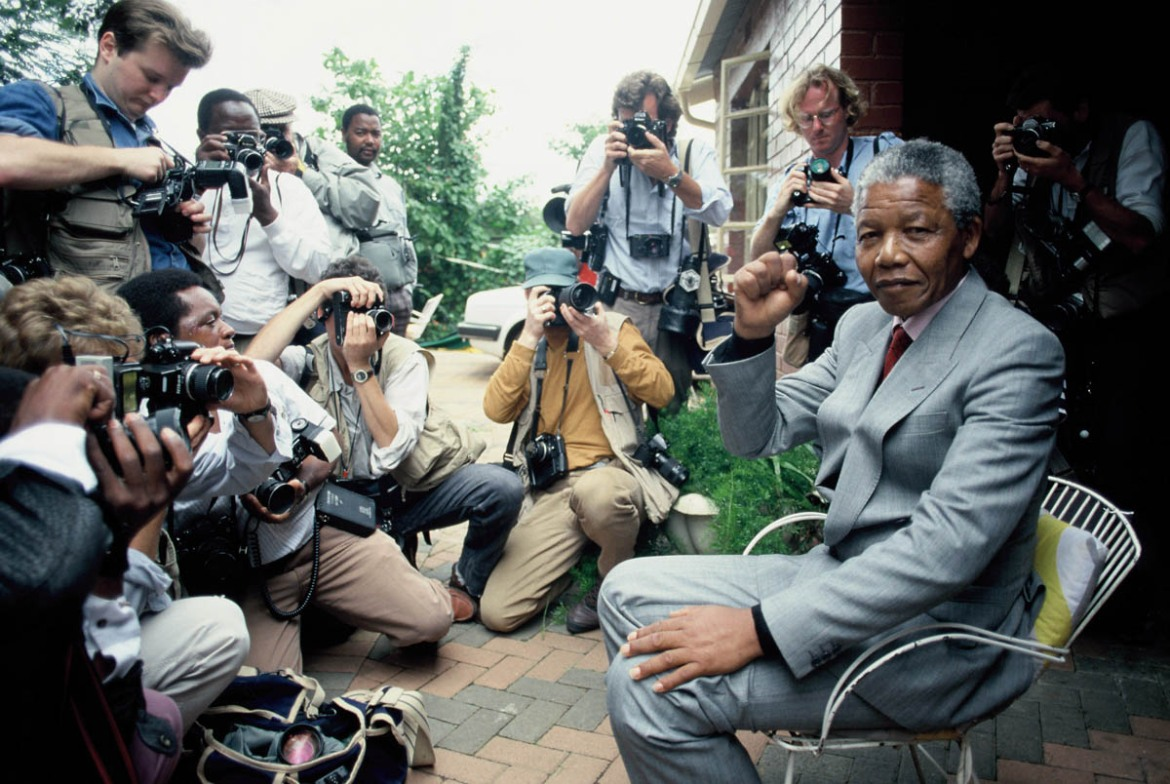 Nelson Mandela at home in Soweto, five days after his release from Victor Verster Prison. [Georges De Keerle/Getty Images]