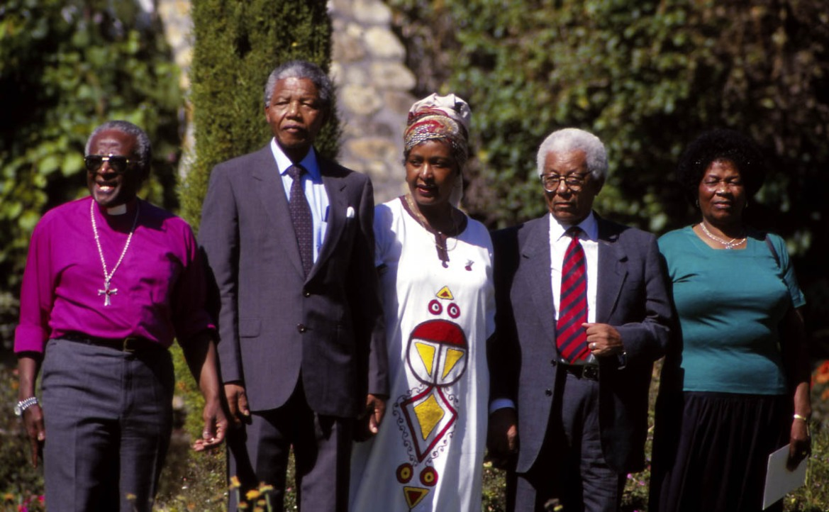 From left, anti-apartheid leaders Archbishop Desmond Tutu, Nelson Mandela, Winnie Mandela, Walter Sisulu, and Albertina Sisulu. [Susan Winters Cook/Getty Images]