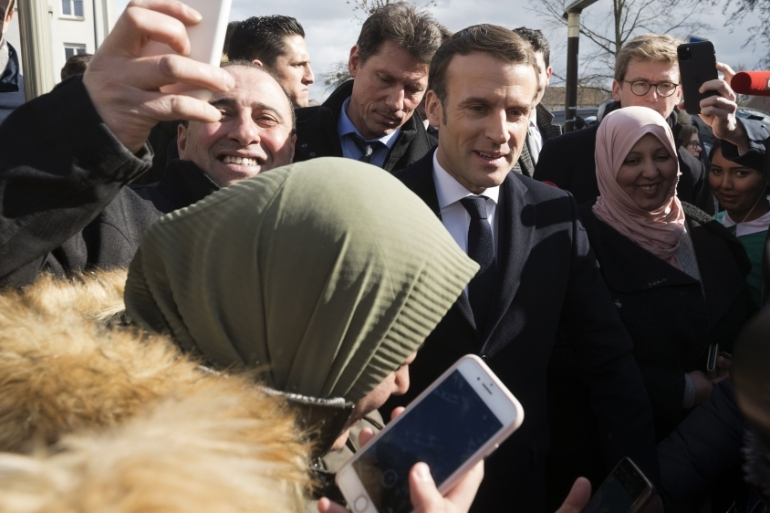 French President Emmanuel Macron said freedom of expression includes the right to blaspheme [File: Sebastien Bozon/Pool/AFP]