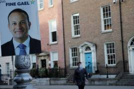 Fine Gael leader and current Irish Prime Minister Leo Varadkar is running third in opinion polls ahead of Saturday's election [Phil Noble/Reuters]