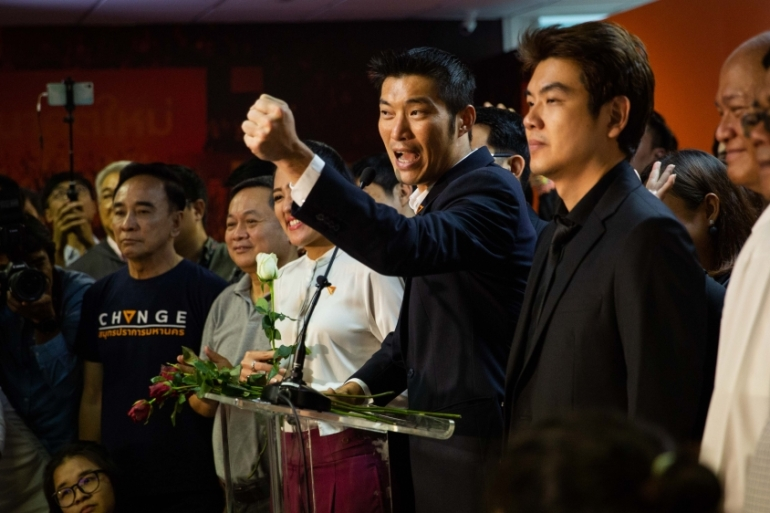 Thanathorn addresses a press conference at the party's headquarters after the court ruling [Lauren DeCicca/Getty Images]