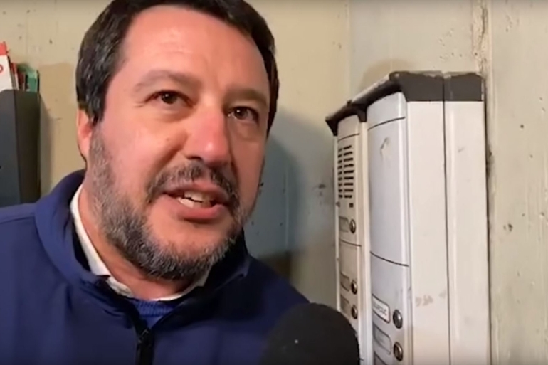 During a recent election campaign, Matteo Salvini was filmed live as he approached the home of a Tunisian family and asked them if they dealt drugs [Screenshot from YouTube]