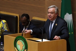 Antonio Guterres made the call during an address at the annual African Union summit in Addis Ababa, Ethiopia [Tiksa Negeri/Reuters]