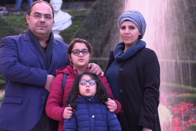 Alberto, Rasha and their daughters, Farah, 10, and Fajer, 6, fled from Syria to Sicily, where Alberto's grandfather was from [Alessandro Puglia/Al Jazeera]