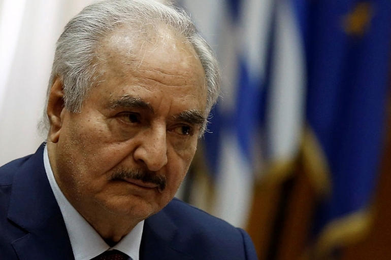 Libyan military commander Khalifa Haftar during a meeting with the Greek prime minister in Athens, Greece [Costas Baltas/Reuters]