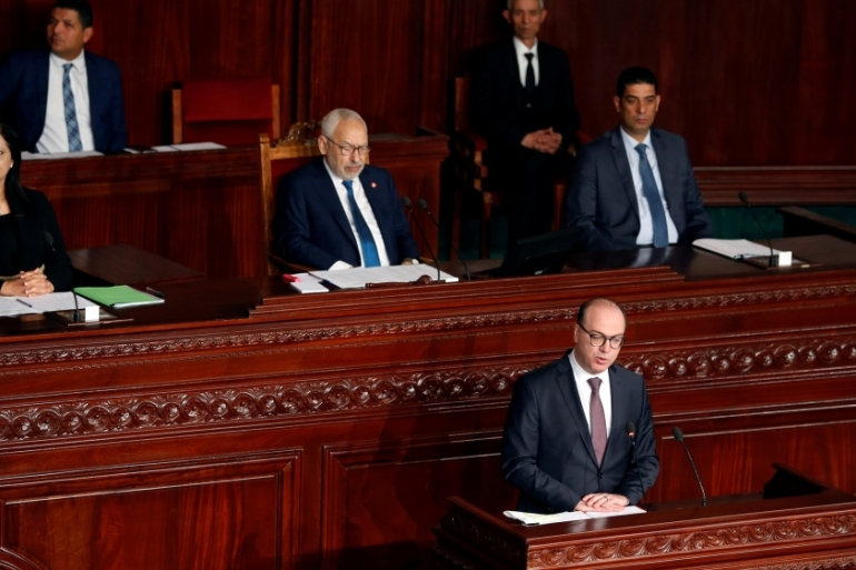 Tunisia's prime minister-designate Elyes Fakhfakh speaks at the assembly in capital, Tunis, on Wednesday [Zoubeir Souissi/Reuters]