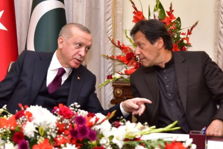 Khan, right, and Erdogan during an event in Islamabad [File: Handout via Reuters]