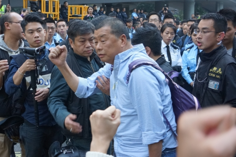 Lai was previously arrested in 2014 for refusing to leave a key pro-democracy protest site in the centre of the city [Stringer/EPA]