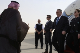 US Secretary of State Mike Pompeo arrives at the King Khalid International Airport in the Saudi capital Riyadh [Andrew Caballero-Reynolds/Reuters]