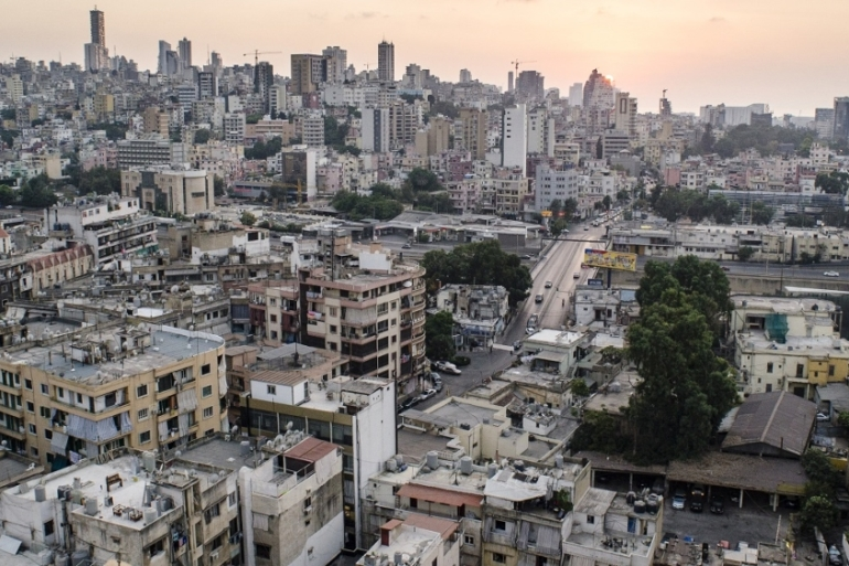 A view over Beirut from the Bourj Hammoud neighbourhood, an area used by women forced into prostitution and the pimps and traffickers who control them [Daniela Sala/Al Jazeera]