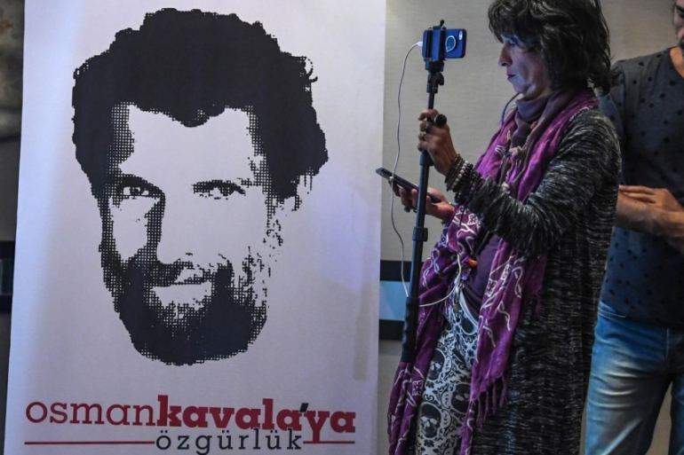 Kavala has been jailed since October 2017 over charges related to the 2016 failed coup and 2013 anti-government protests [File: AFP]